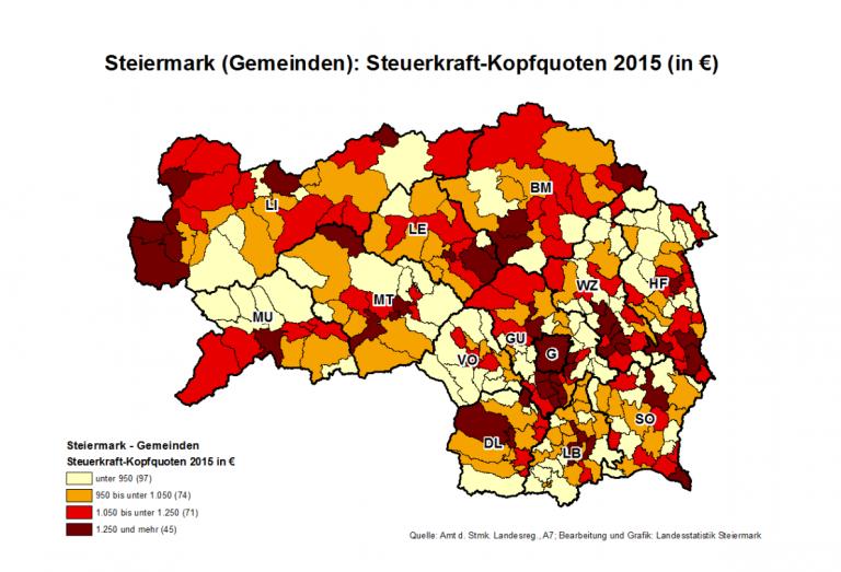 """Steuerkraft-Kopfquote: Die """"reichsten"""" Gemeinden im Bezirk Leoben"""