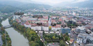Luftaufnahme des Projektareals sowie der bestehenden Gebäude der Montanuniversität. (Foto: BIG)