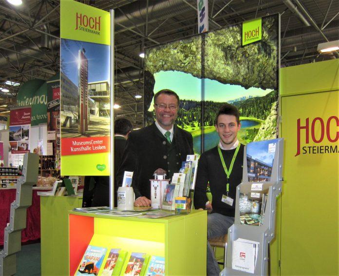 Matthias Pagger (re.) und Robert Herzog vertraten den Tourismusverband Leoben-Niklasdorf bei der Ferien-Messe in Wien. (Foto: www.tourismus-leoben.at )